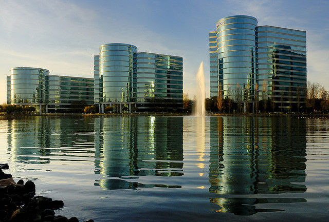 The Oracle campus at Redwood Shores, California.