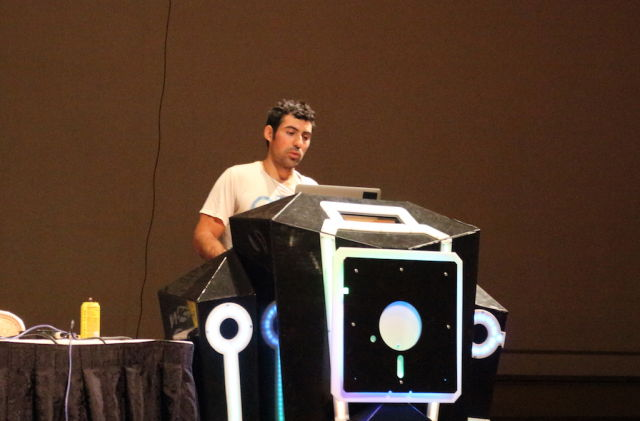 Samy Kamkar presents OwnStar at DEF CON 23 in Las Vegas.