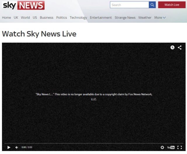 Sky News livestream of Republican debate shut down by Fox News copyright claim