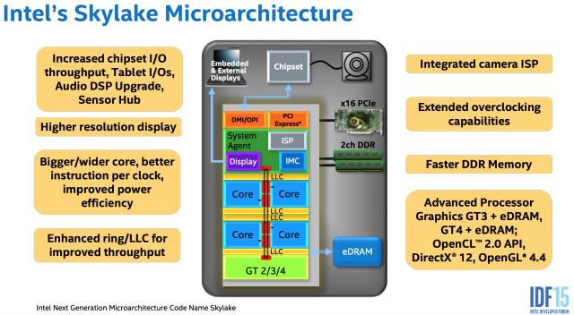 "This diagram shows a kind of ""superset"" of Skylake. Different versions will not include all of these parts, but these are all the different components that can be included."