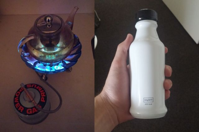 At left, Rob's Space Stove. At right, Soylent 2.0 from private beta.