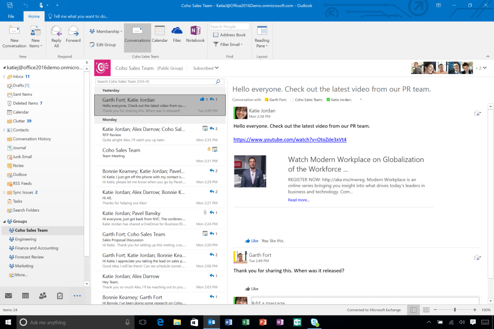 The groups feature in Outlook when used with Office 365 seems useful, though some administrators may not like its ad hoc nature.