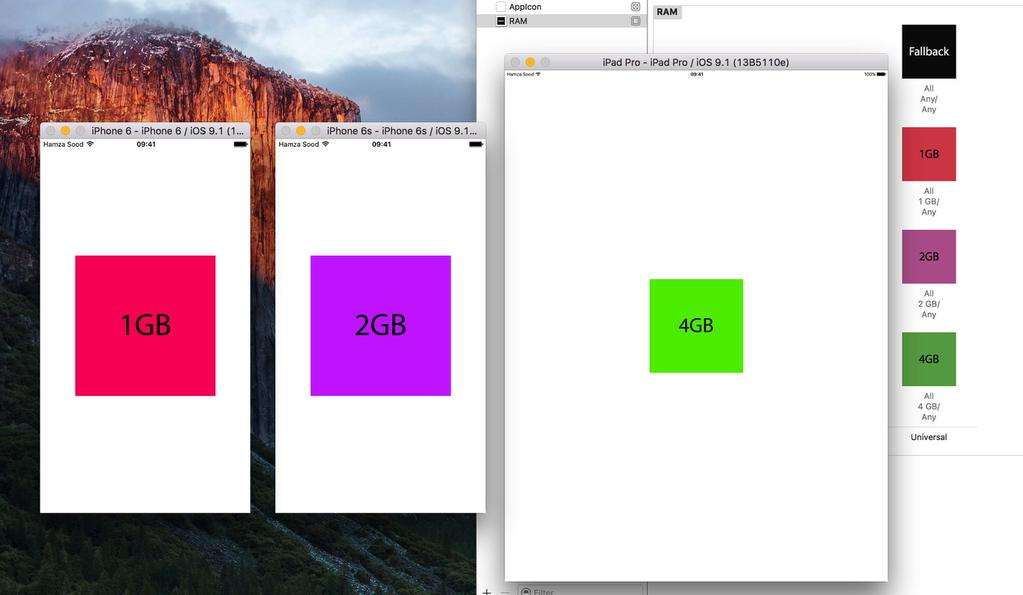 Xcode's iOS simulator reports 2GB RAM for iPhone 6S, 4GB for iPad