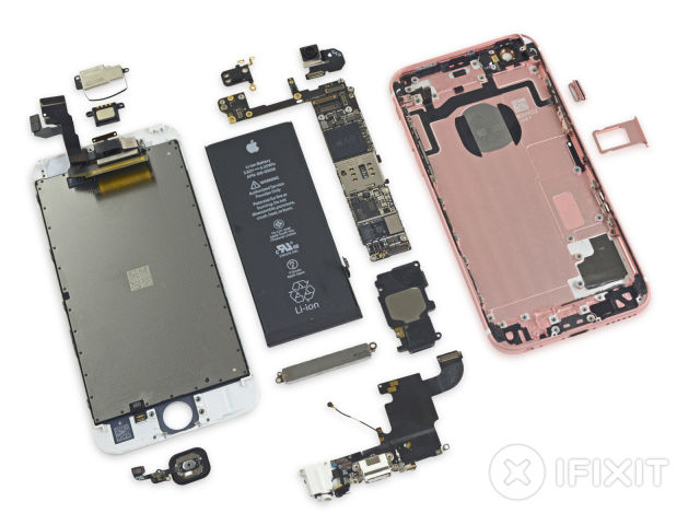 The iPhone 6S, blown apart.