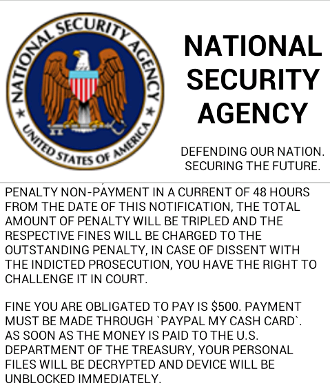 Apparently, NSA only takes payment via PayPal for penalties for bad app downloads? That doesn't seem right...