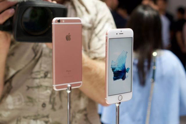The new iPhone 6S in rose gold, Apple's latest metal finish.