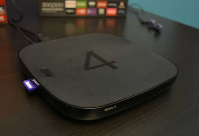 The Roku 4 features a quad-core processor, 802.11ac Wi-Fi, optical audio out and a signal-remote button.