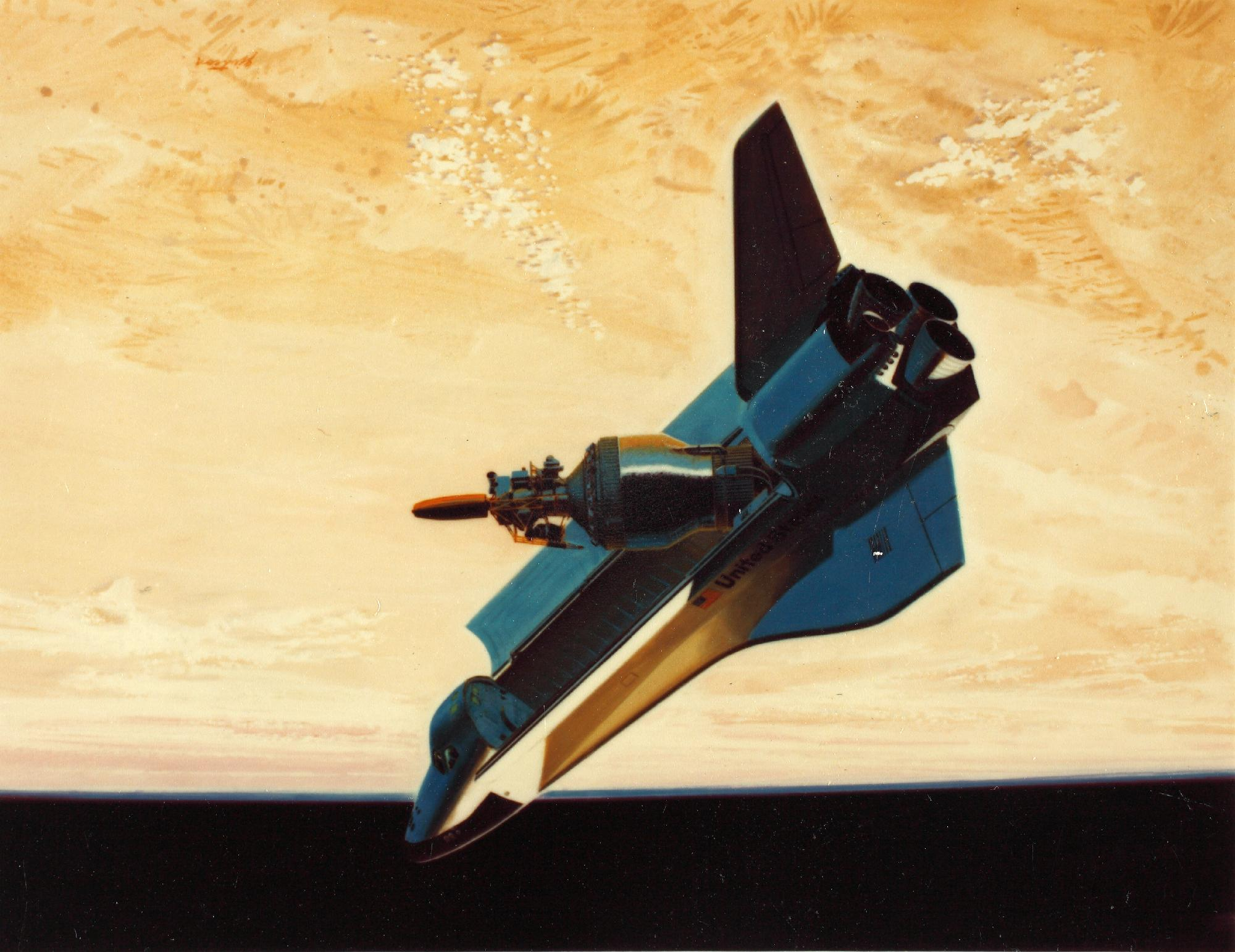 General Dynamics' artistic rendering of Shuttle-Centaur, with optimistic text about a 1986 target date for launch.