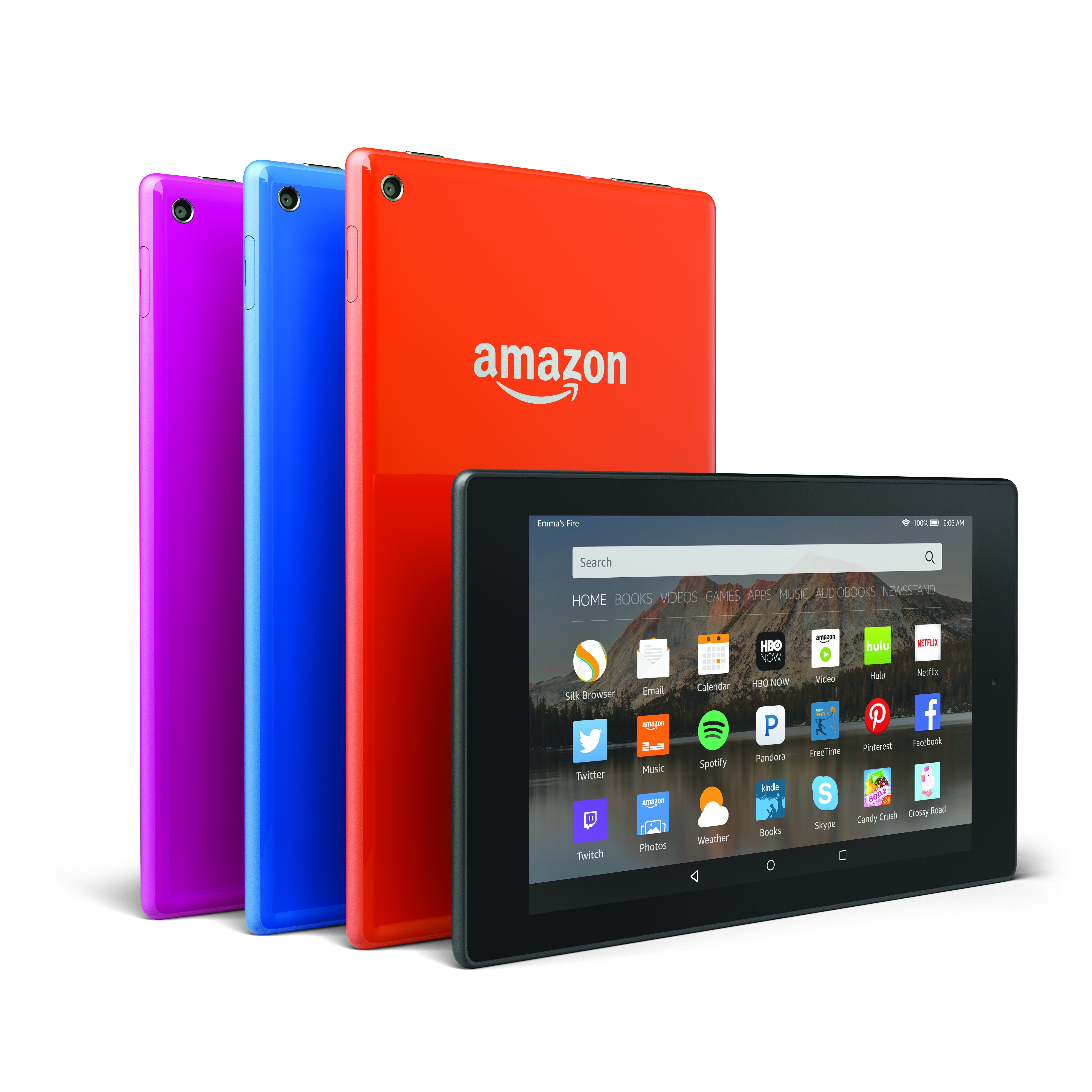 Fire HD8 comes in a variety of colors.