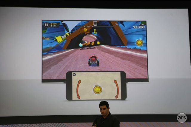 Games on Chromecast use both the TV display and your smartphone.
