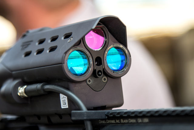 The optical end of the scope on one of TrackingPoint's AR-15 carbines.