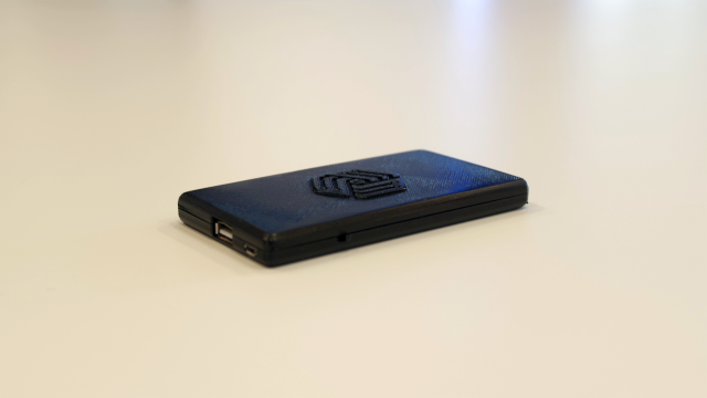 A prototype of the Invizbox Go, a portable Wi-Fi privacy device that can connect to public Wi-Fi and act as a Tor or VPN gateway.