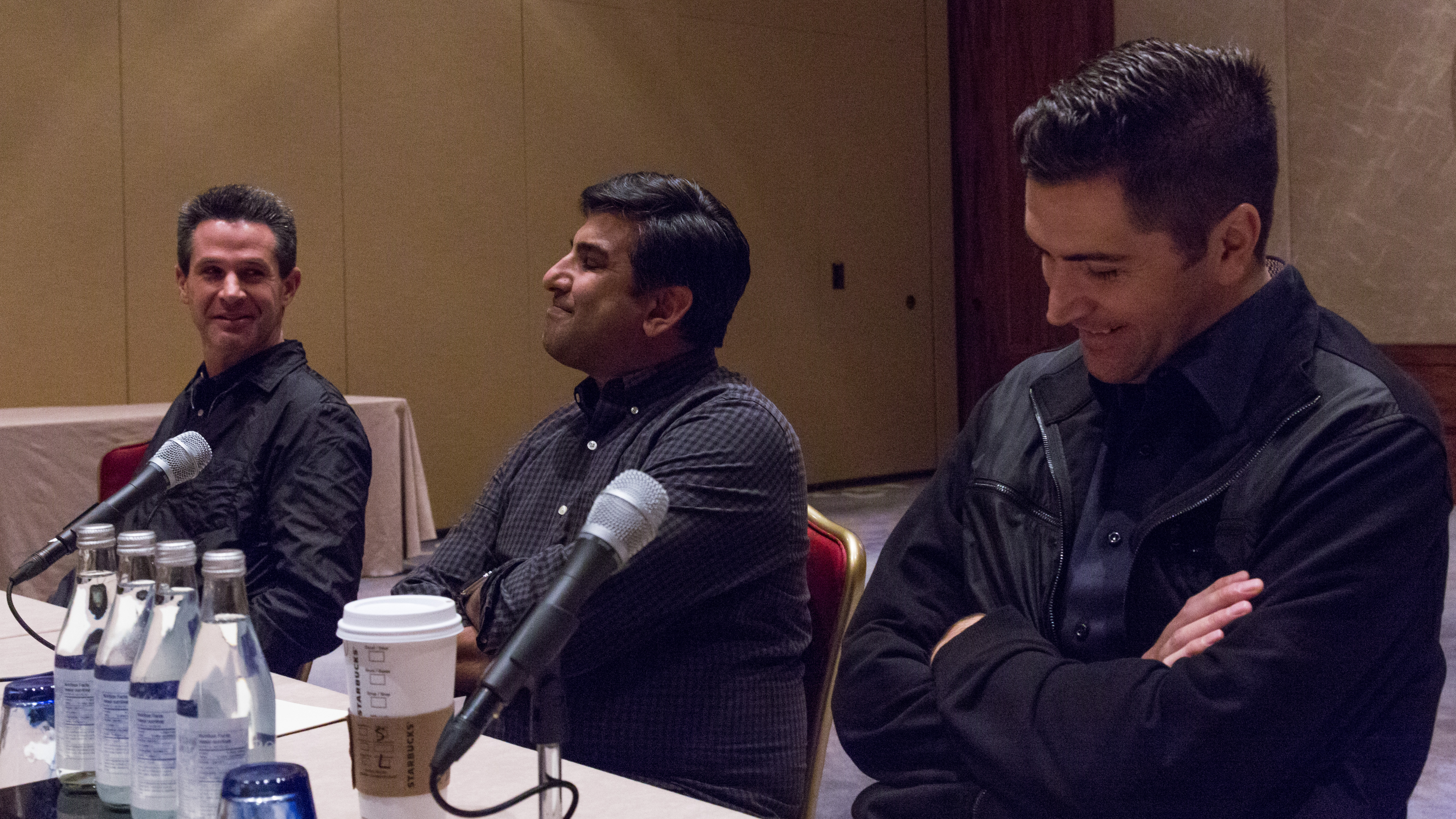 Producers Simon Kinberg (left) and Aditya Sood (center), along with screenwriter Drew Goddard (right). Drew is extremely tall.