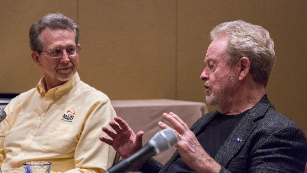 NASA Chief Planetary Scientist Dr. Jim Green (left) and <em>The Martian</em> Director Ridley Scott (right).