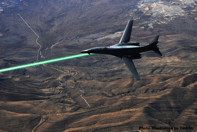 An artist's rendering of HELLADS, a General Atomics-built laser weapon now in ground testing. Air Force leaders say a laser pod based on the technology could be aboard fighter aircraft within five years.