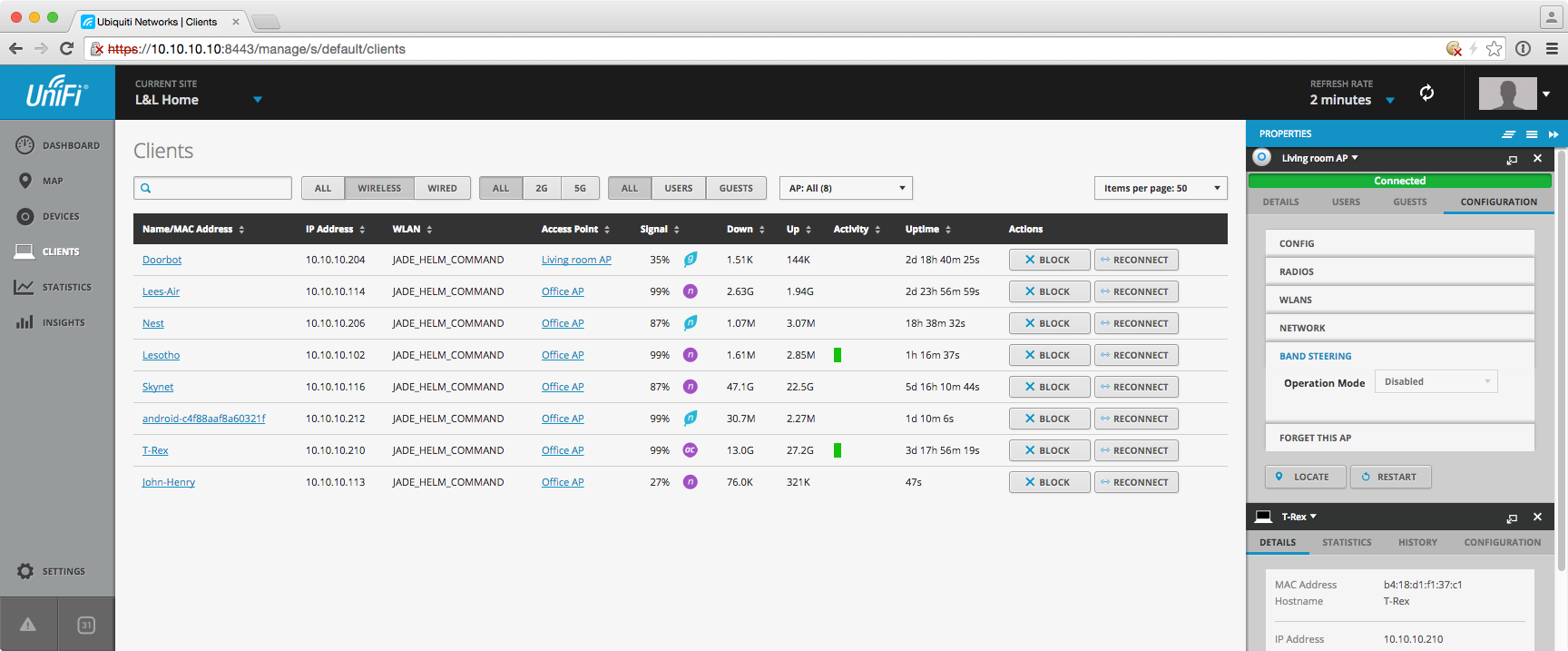 A quick peek at the wireless client list. The UniFi console is rich with functionality.