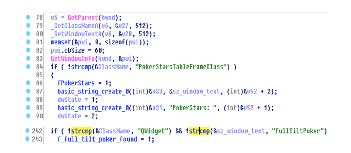 Screenshot from IDA Pro highlights malware code that searches for PokerStars and Full Tilt Poker windows.