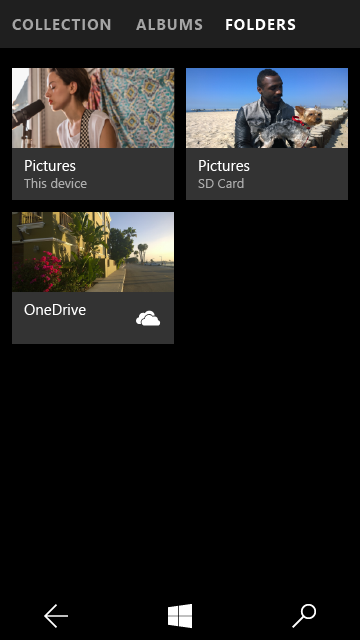 The new Photos app is both hamburgerless and exposes the folder structure on SD media.