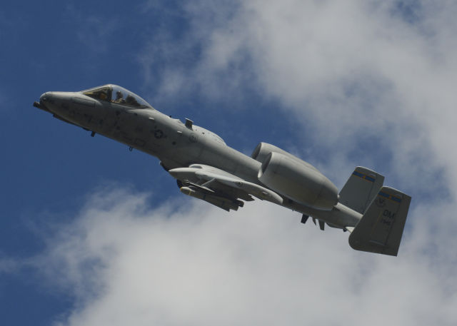 "A US Air Force A-10 Thunderbolt II assigned to the 354th Expeditionary Fighter Squadron flies during a ""theater security package"" deployment at Campia Turzii, Romania, April 1, 2015.  The Air Force needs to fly the A-10 through 2022 because of F-35 delays, but it hasn't got enough orders for wing replacements to sustain all of them."