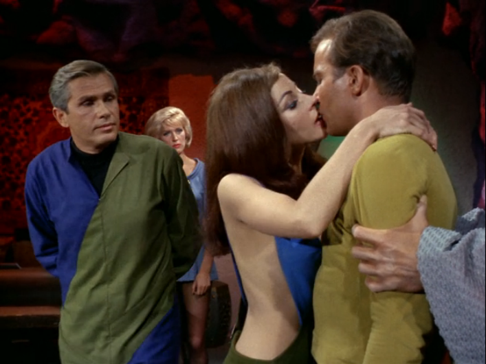 """This episode was called """"What are little girls made of?"""" (Spock might answer that human females are carbon-based life forms.) In it, Nurse Chapel's former fiancé, Dr. RogerKorby, commands Andrea the android to kiss Kirk in a scene that is so, so awkward and gratuitous."""