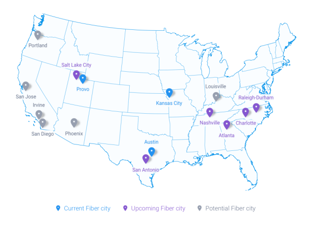 Google's updated fiber map.