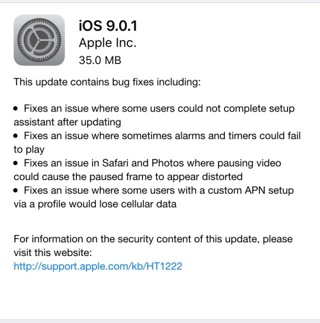 Apple releases iOS 9.0.1 with fixes for setup assistant, alarms, other bugs