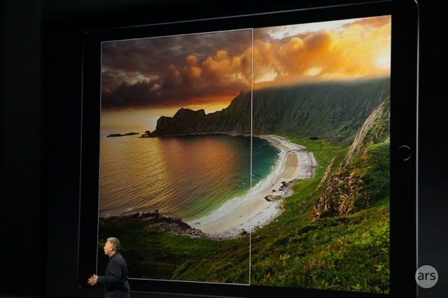 Phil Schiller shows off the iPad Pro display.