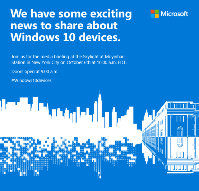 Microsoft's big hardware event is October 6 in New York