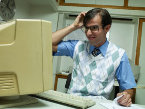 (Editor's dramatization, this isn't young Sam with his Pentium 166...)