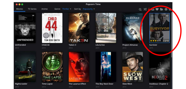 Plaintiffs included a screenshot from the Popcorn Time app, with their movie circled in red.