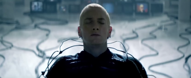 "From the video for Eminem's ""Rap God."""