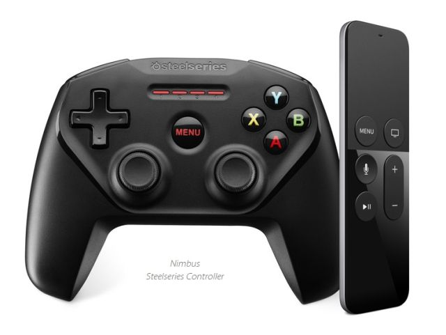 The third-party Steelseries Nimbus, pictured next to the Siri Remote that's actually included with the Apple TV.