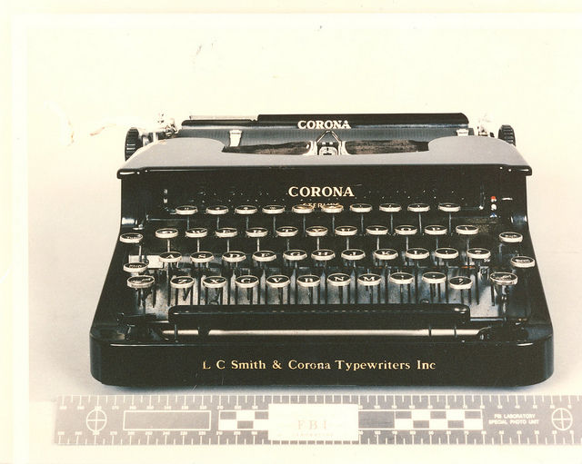 "Kaczynski used this L3 Smith-Corona portable typewriter for most of his documents, including his ""Manifesto."""