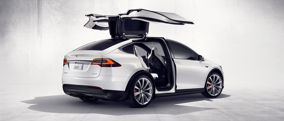 The 'falcon doors' at the rear are the Model X's most distinctive feature.