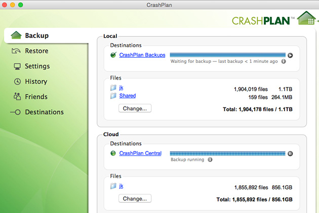 CrashPlan configured to back up to both a local disk (CrashPlan Backups) and the cloud (CrashPlan Central). Other destinations are possible, too.