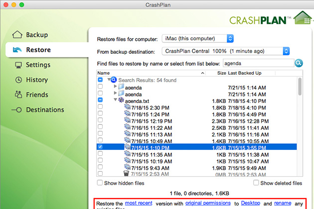 CrashPlan gives you detailed control over versioning and file retention.