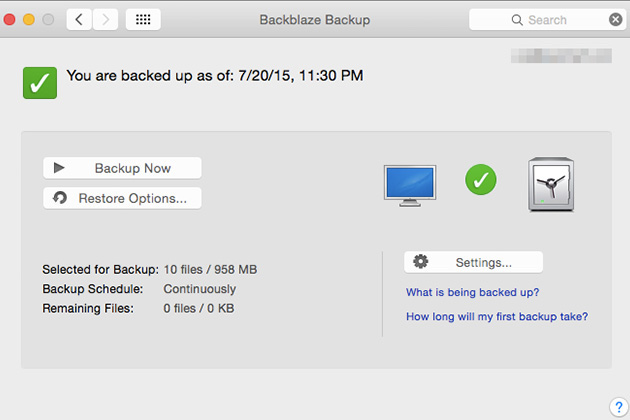 The Backblaze window—actually a System Preferences pane on OS X and a Control Panel on Windows—is clean, uncluttered, and friendly.