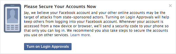 Facebook now notifies you if you're the target of a state-sponsored attack