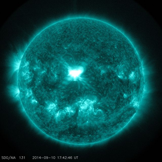 An X1.6 class solar flare flashes in the middle of the sun on Sept. 10, 2014.
