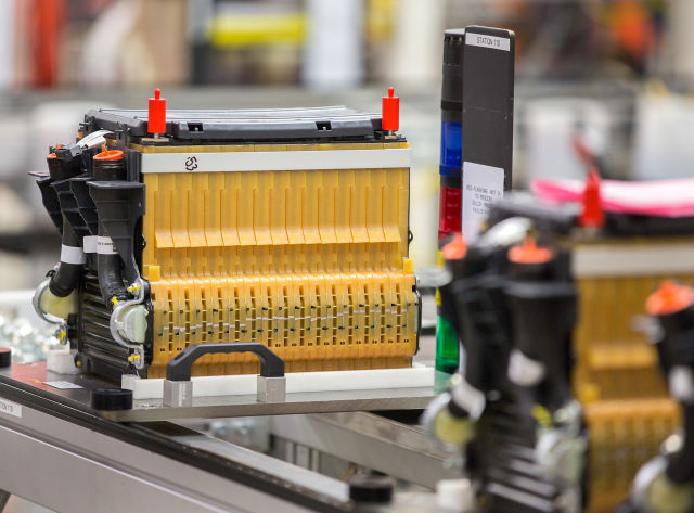 A battery for the 2015 Chevrolet Spark EV at Brownstown Battery Assembly in Brownstown, Michigan. LG Chem ships cells from its Holland, Michigan plant to Brownstown for assembly. (Photo by John F. Martin for General Motors)