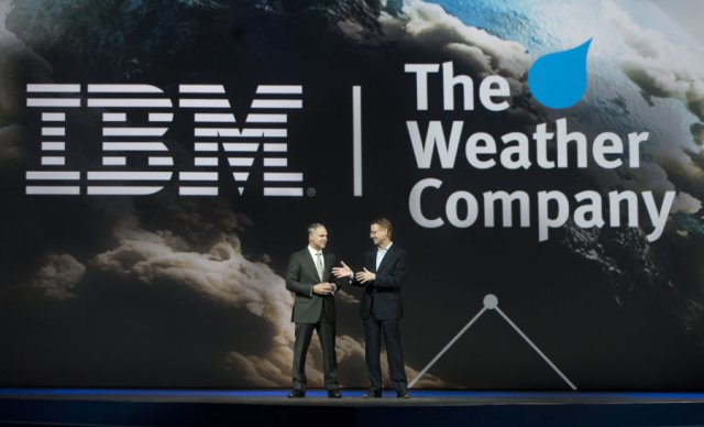 IBM Senior Vice President Bob Picciano (left) joins The Weather Company Chairman & CEO David Kenny at the IBM Insight Conference in Las Vegas.