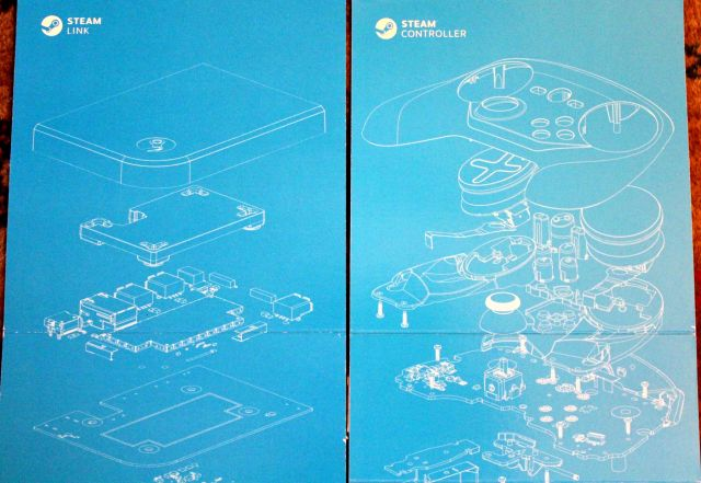 When you tear open the Steam Controller and Steam Link boxes, you'll see these cool schematic doodles hidden inside.