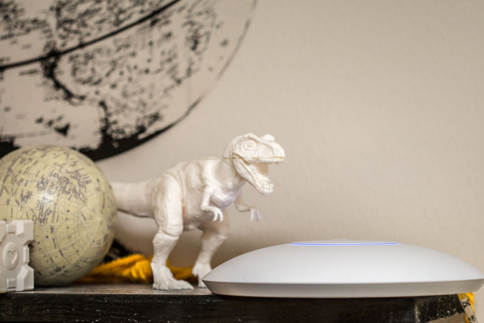UAP-AC-Pro WAP in office, guarded by Rexy the 3D-printed T-rex.