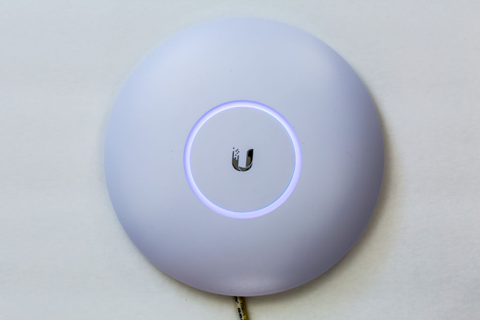The UAP-AC-Pro, one of the three types of UniFi wireless access points I tested.