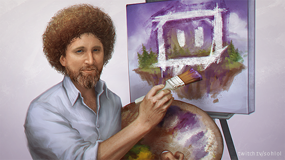 We think that if Bob Ross drew the Twitch logo, he'd make it look decidedly happier than this.