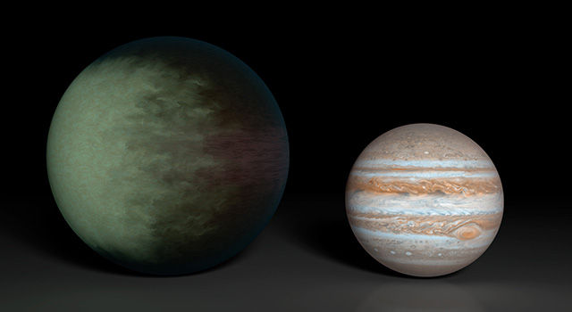 Artist's conception of the clouds on Kepler-7b, compared for size with Jupiter (right). The western side is cloudy, while the east is largely cloud-free.