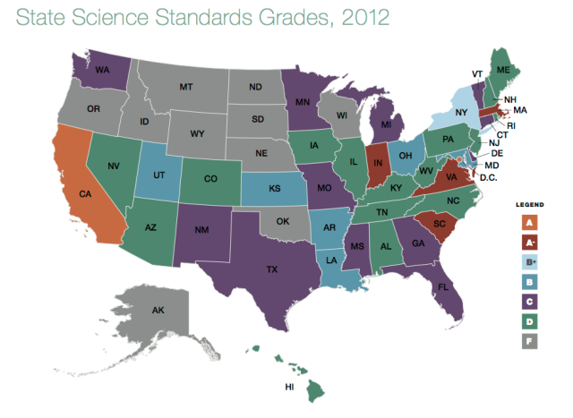 A recent grading of science education standards found a lot of states came up short of a passing grade.