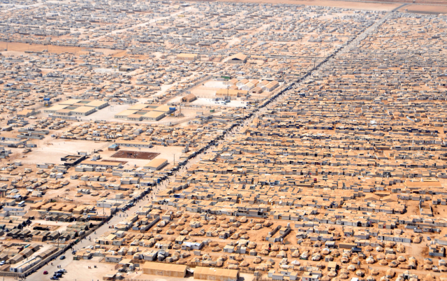 A syrian refugee camp in Jordan, as seen from a helicopter.