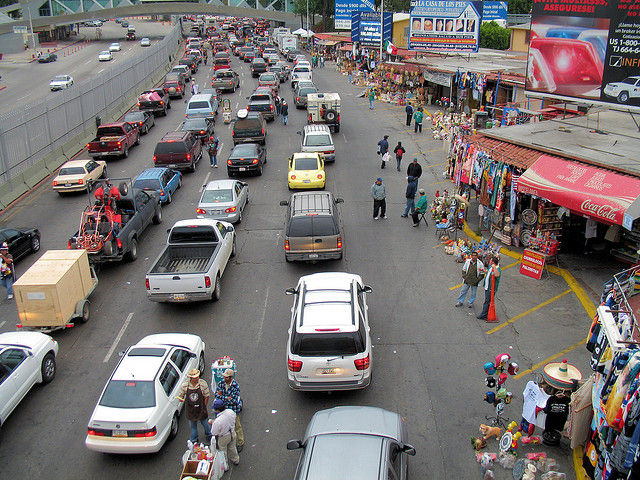 US authorities want to put RFID chips in driver's licenses for the stated goal of speeding up US border-crossing lines in Mexico and Canada. Privacy experts caution that these spy-friendly forms of ID likely will evolve into something more nefarious. Pictured above: Border crossing from Tijuana, Mexico, to San Ysidro, California.