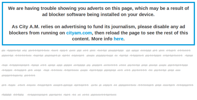 City A.M. now blocks content if users have ad-blocking software installed